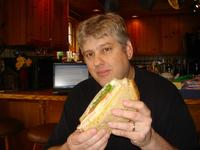 Chris with a gigantic sandwich from Big G's