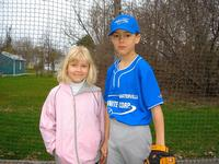 Kira and Nolan at baseball field